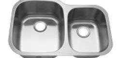 60/40 Polished Stainless Steel Sink